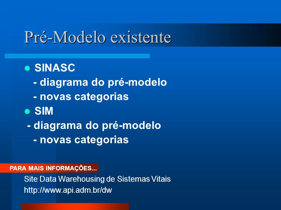 Pré-Modelo existente SINASC - diagrama do pré-modelo