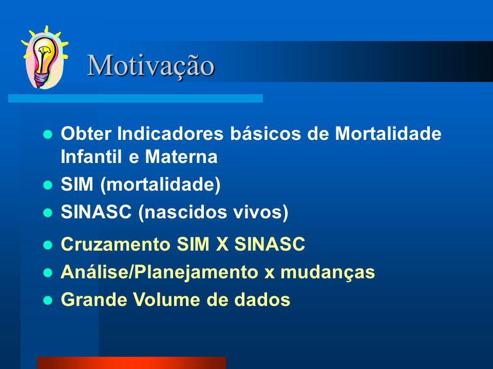 Motivação Obter Indicadores básicos de Mortalidade Infantil e Materna