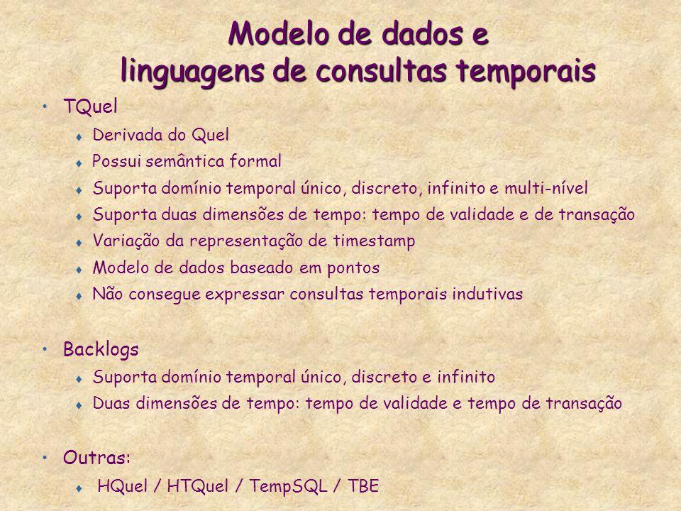 Modelo de dados e linguagens de consultas temporais