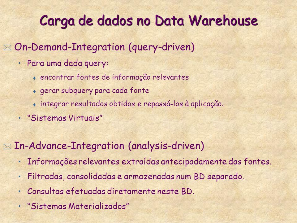 Carga de dados no Data Warehouse