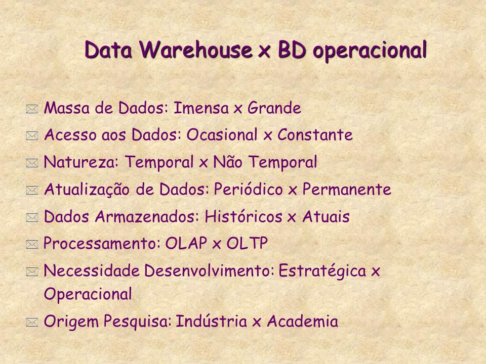 Data Warehouse x BD operacional
