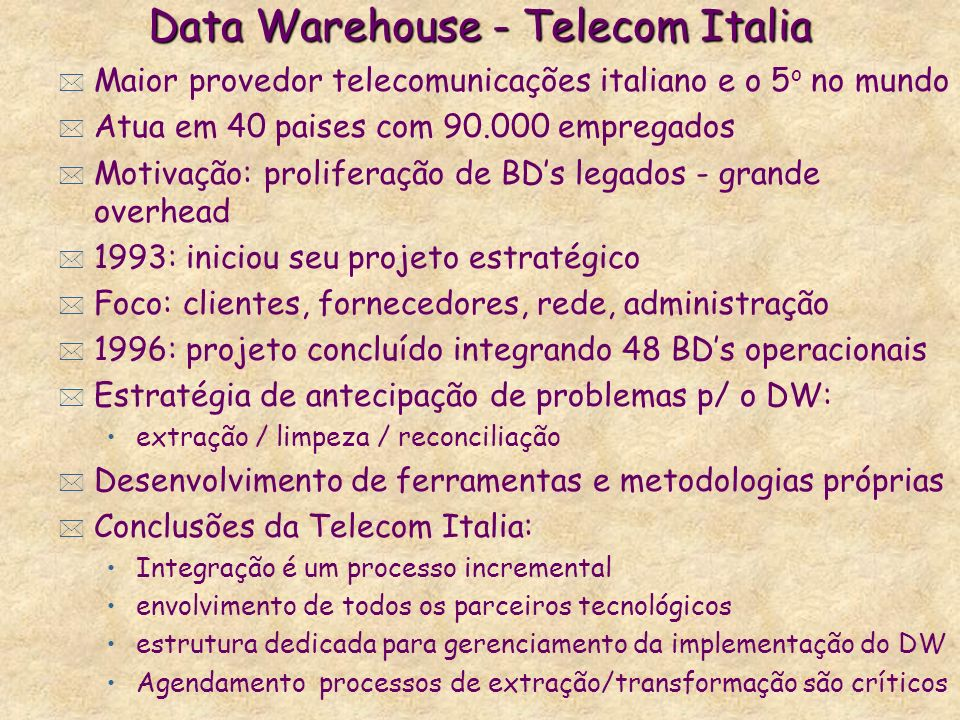 Data Warehouse - Telecom Italia