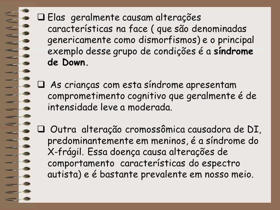 Elas geralmente causam alterações características na face ( que são denominadas genericamente como dismorfismos) e o principal exemplo desse grupo de condições é a síndrome de Down.