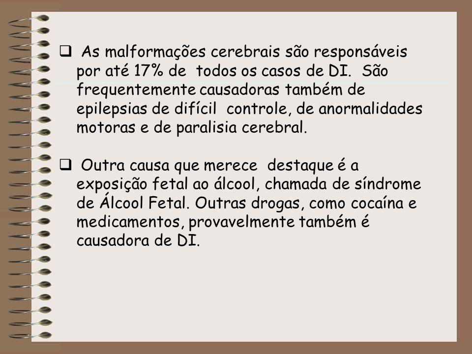 As malformações cerebrais são responsáveis por até 17% de todos os casos de DI. São frequentemente causadoras também de epilepsias de difícil controle, de anormalidades motoras e de paralisia cerebral.