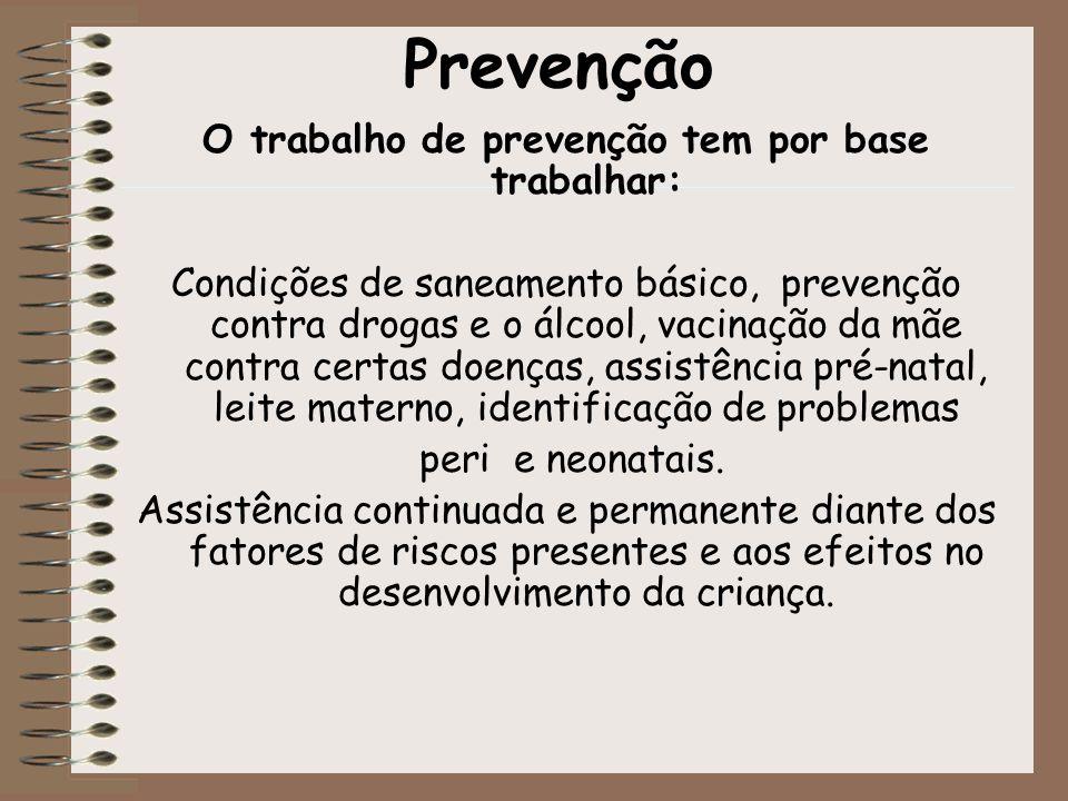 O trabalho de prevenção tem por base trabalhar: