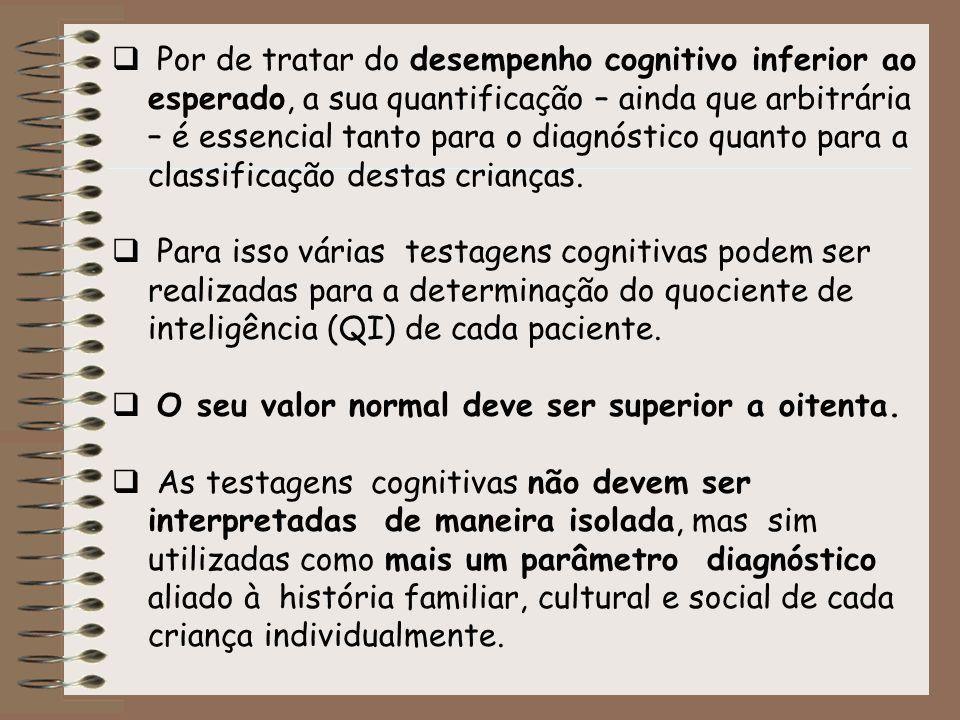 Por de tratar do desempenho cognitivo inferior ao esperado, a sua quantificação – ainda que arbitrária – é essencial tanto para o diagnóstico quanto para a classificação destas crianças.