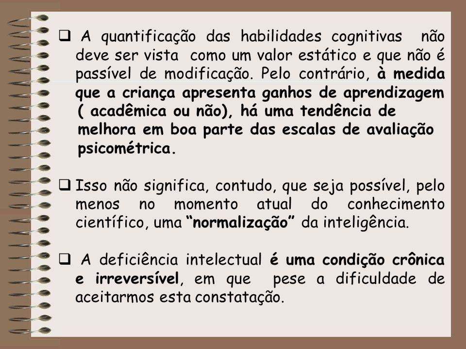 A quantificação das habilidades cognitivas não deve ser vista como um valor estático e que não é passível de modificação. Pelo contrário, à medida que a criança apresenta ganhos de aprendizagem