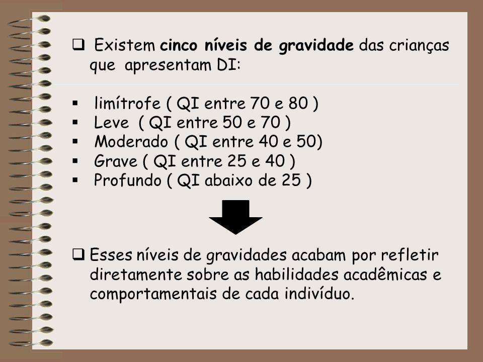 Existem cinco níveis de gravidade das crianças que apresentam DI: