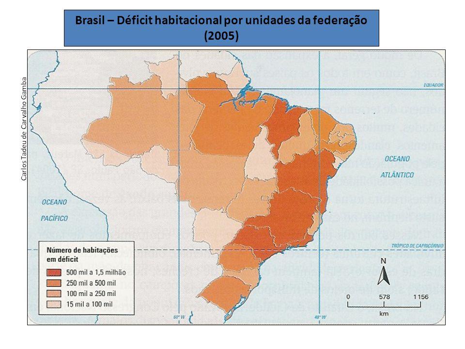 Brasil – Déficit habitacional por unidades da federação (2005)