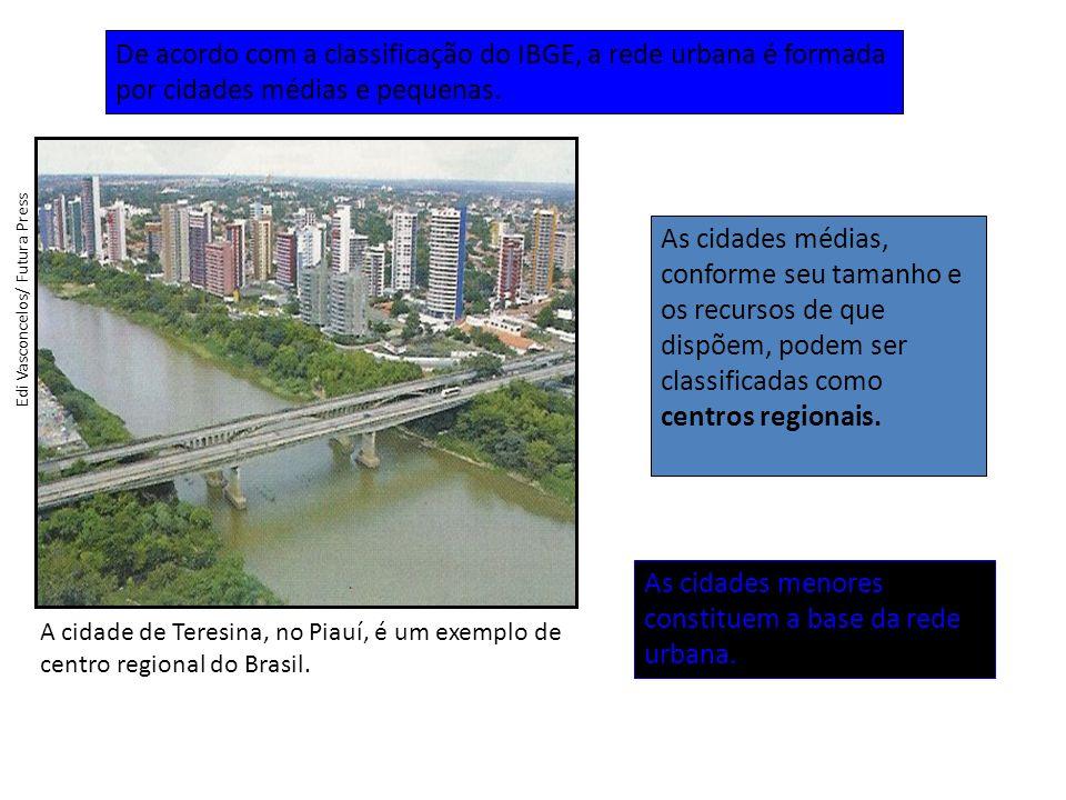 As cidades menores constituem a base da rede urbana.