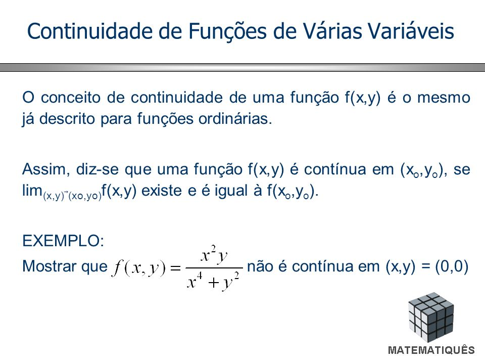 Continuidade de Funções de Várias Variáveis