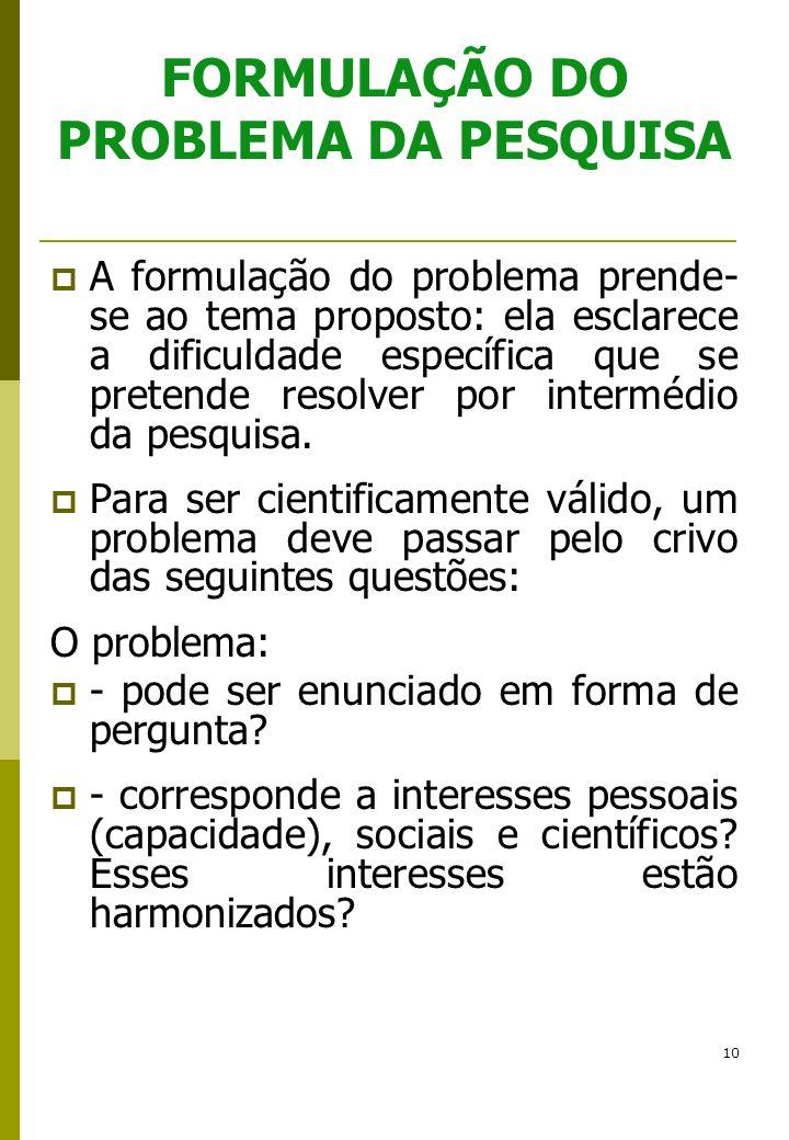 FORMULAÇÃO DO PROBLEMA DA PESQUISA