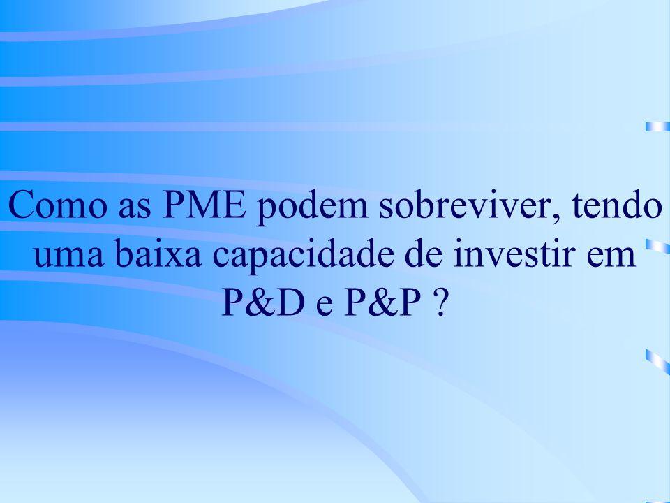 Como as PME podem sobreviver, tendo uma baixa capacidade de investir em P&D e P&P