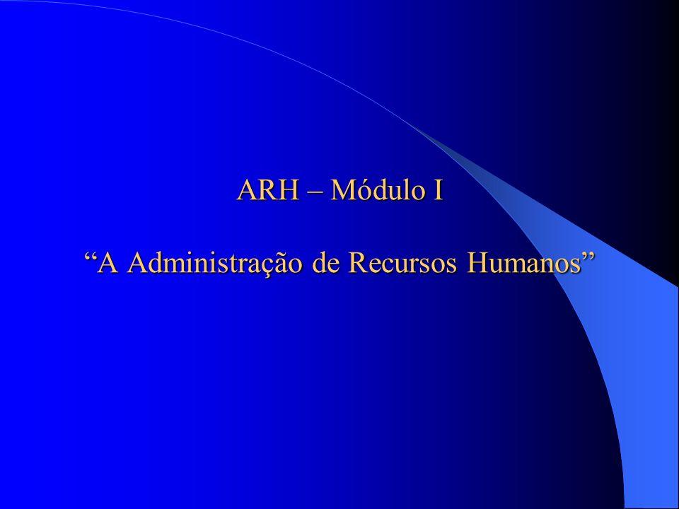 ARH – Módulo I A Administração de Recursos Humanos