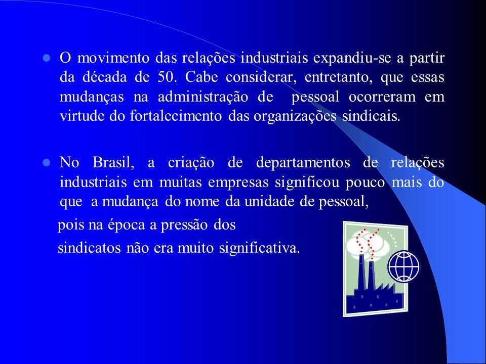 O movimento das relações industriais expandiu-se a partir da década de 50. Cabe considerar, entretanto, que essas mudanças na administração de pessoal ocorreram em virtude do fortalecimento das organizações sindicais.