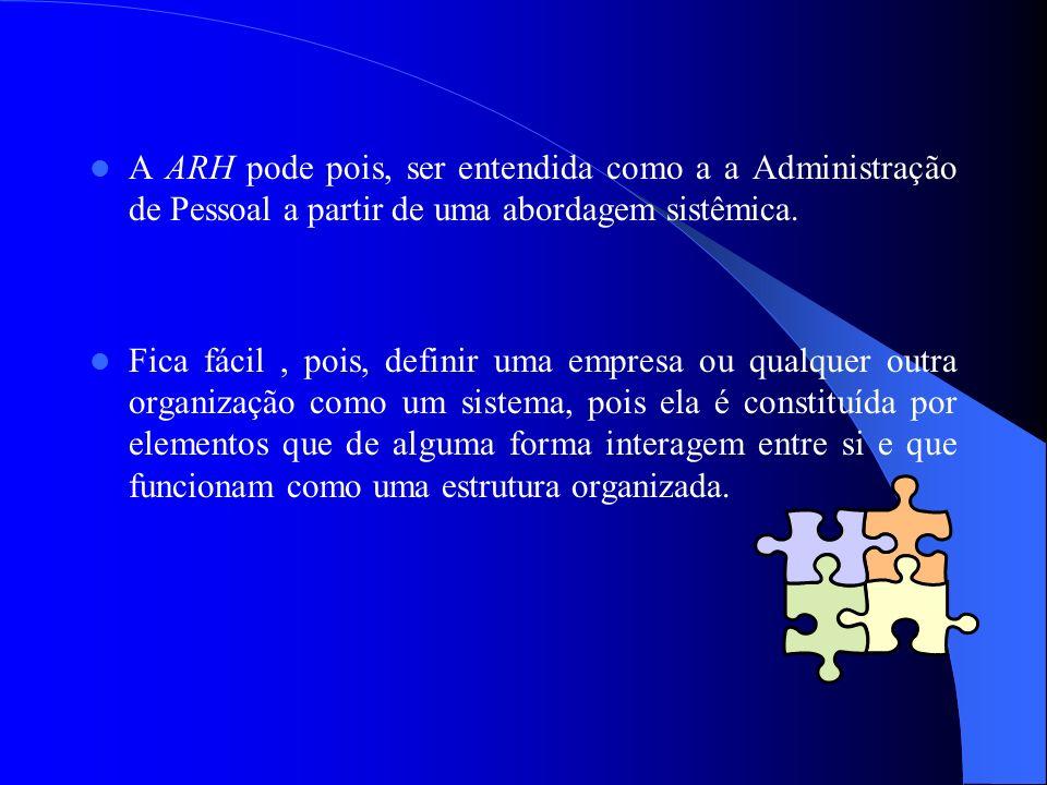 A ARH pode pois, ser entendida como a a Administração de Pessoal a partir de uma abordagem sistêmica.
