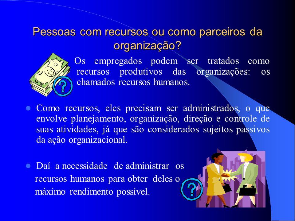 Pessoas com recursos ou como parceiros da organização