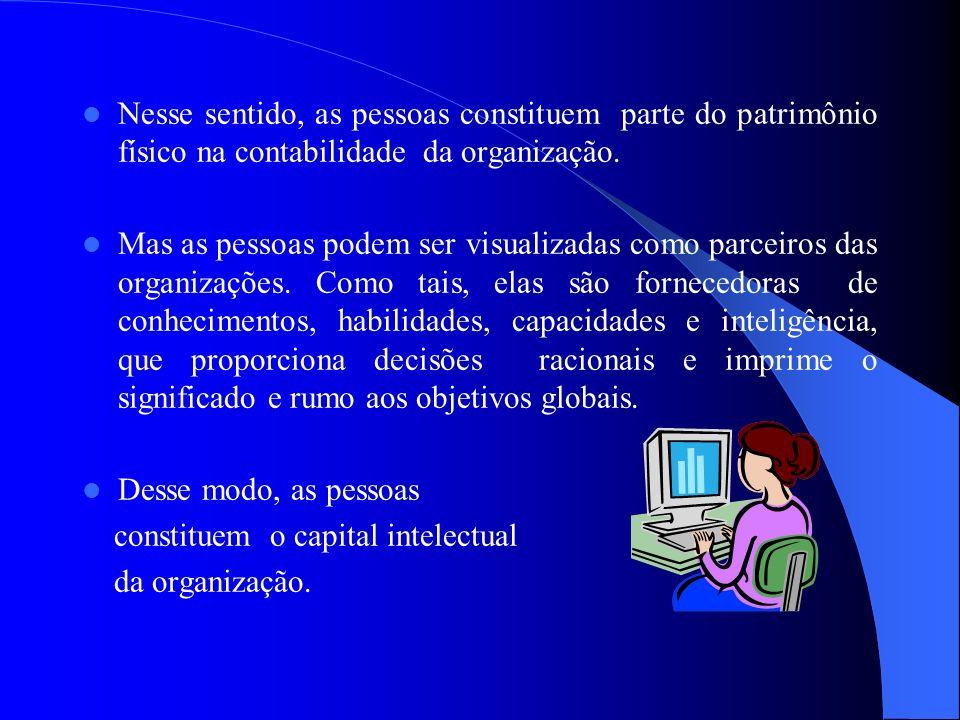 Nesse sentido, as pessoas constituem parte do patrimônio físico na contabilidade da organização.