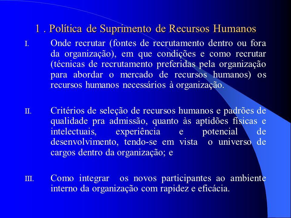 1 . Política de Suprimento de Recursos Humanos