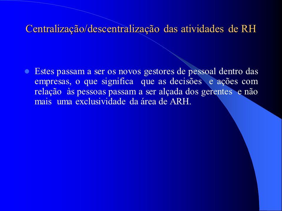Centralização/descentralização das atividades de RH