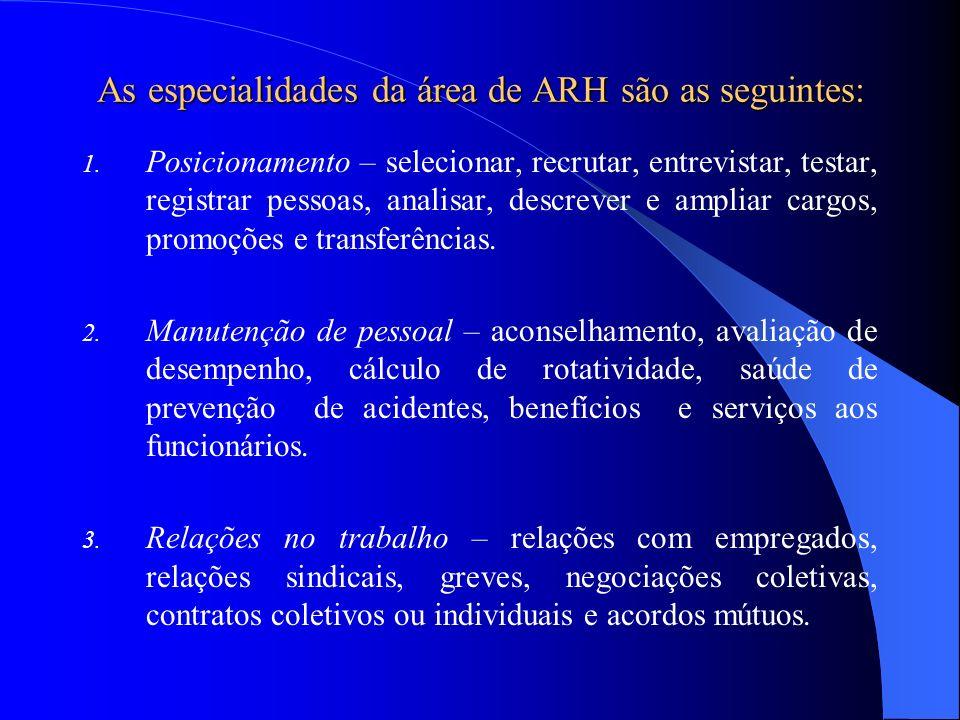As especialidades da área de ARH são as seguintes: