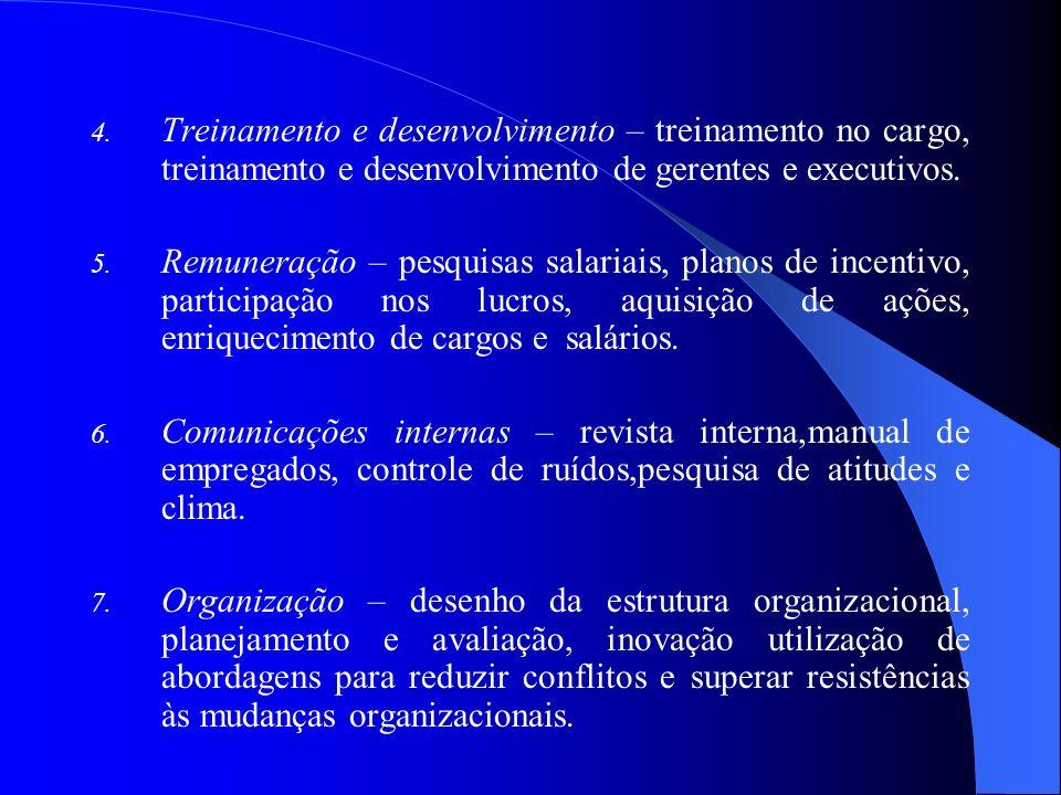 Treinamento e desenvolvimento – treinamento no cargo, treinamento e desenvolvimento de gerentes e executivos.
