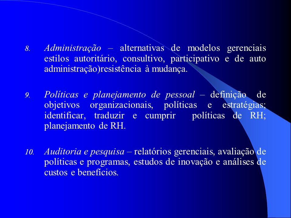 Administração – alternativas de modelos gerenciais estilos autoritário, consultivo, participativo e de auto administração)resistência à mudança.