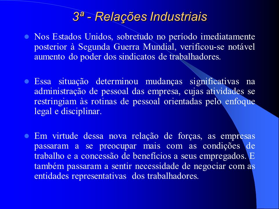 3ª - Relações Industriais