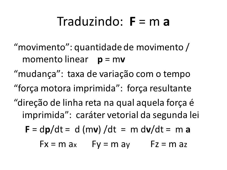 Traduzindo: F = m a