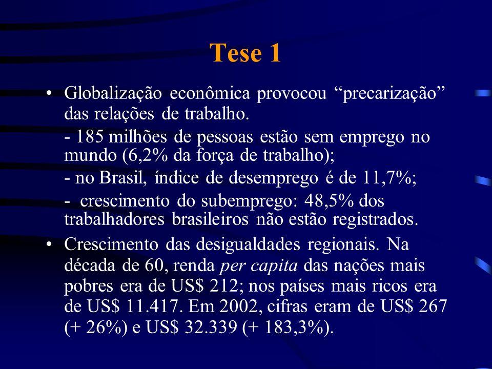 Tese 1 Globalização econômica provocou precarização das relações de trabalho.