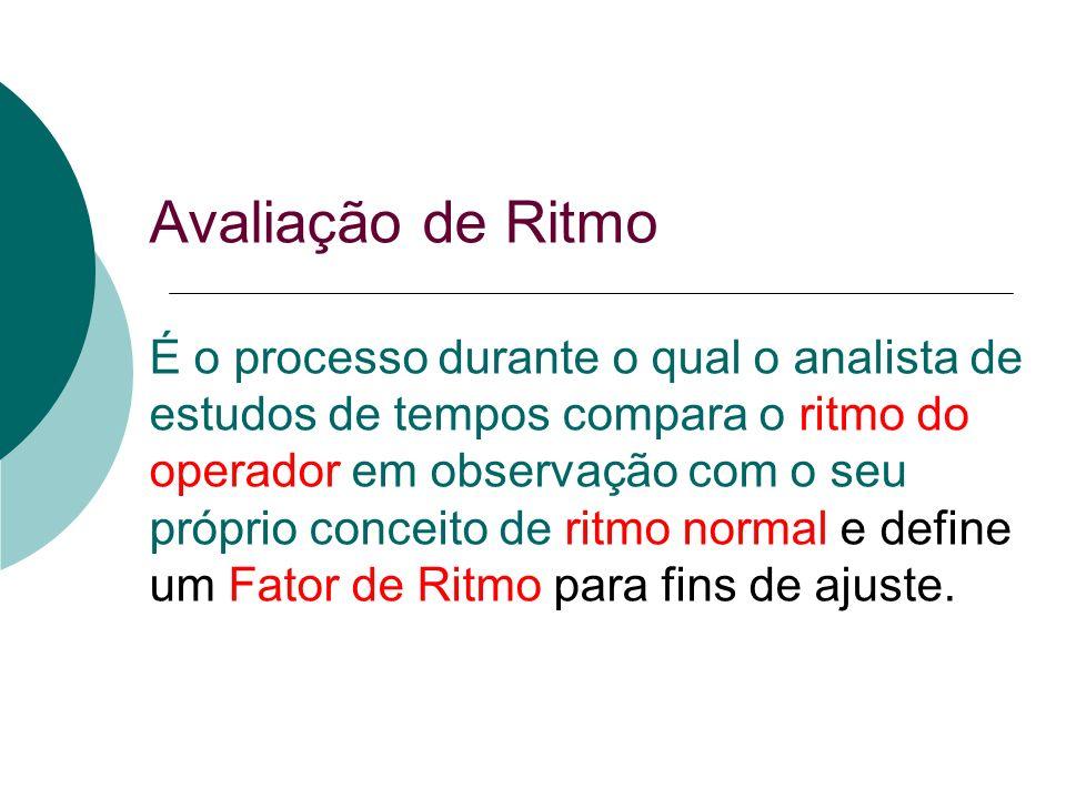 Avaliação de Ritmo É o processo durante o qual o analista de estudos de tempos compara o ritmo do operador em observação com o seu próprio conceito de ritmo normal e define um Fator de Ritmo para fins de ajuste.