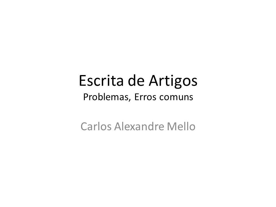 Escrita de Artigos Problemas, Erros comuns