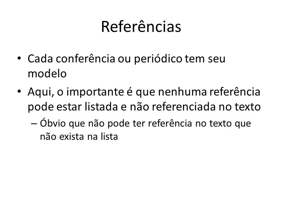 Referências Cada conferência ou periódico tem seu modelo