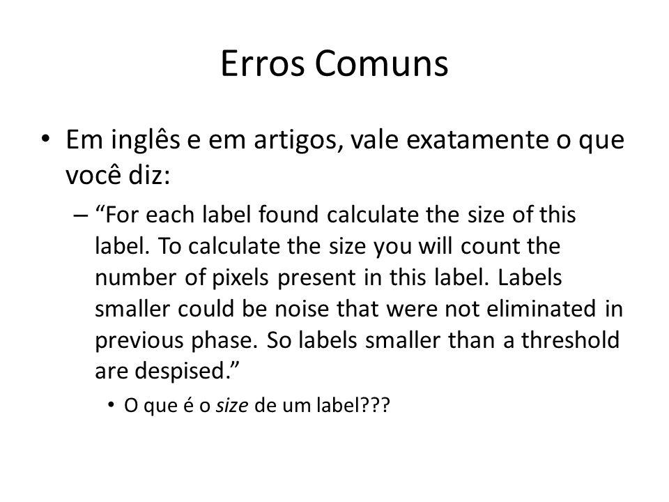 Erros Comuns Em inglês e em artigos, vale exatamente o que você diz:
