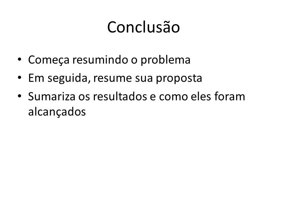 Conclusão Começa resumindo o problema Em seguida, resume sua proposta