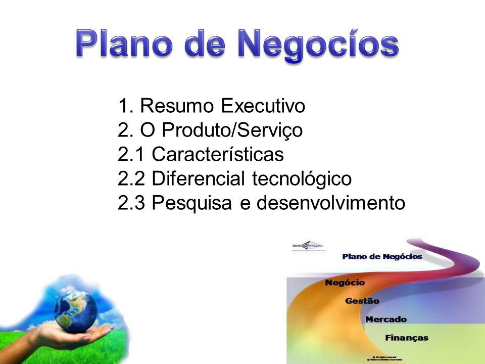 Plano de Negocíos 1. Resumo Executivo 2. O Produto/Serviço