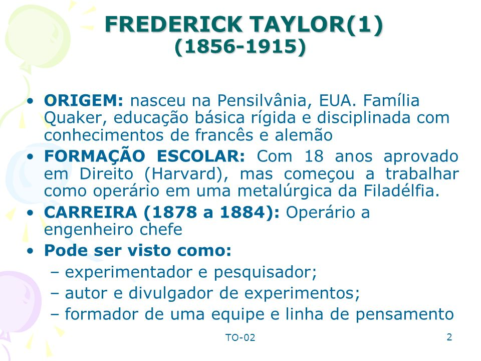 FREDERICK TAYLOR(1) (1856-1915)