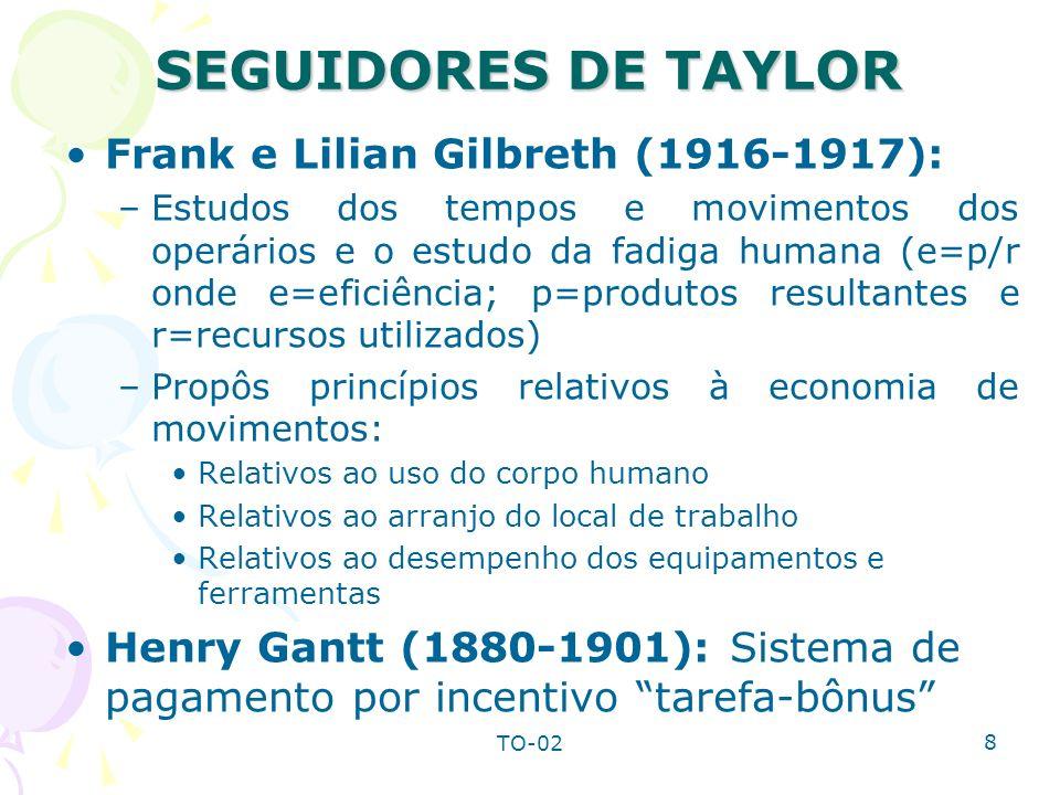 SEGUIDORES DE TAYLOR Frank e Lilian Gilbreth (1916-1917):