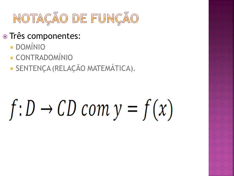 Notação de função Três componentes: DOMÍNIO CONTRADOMÍNIO