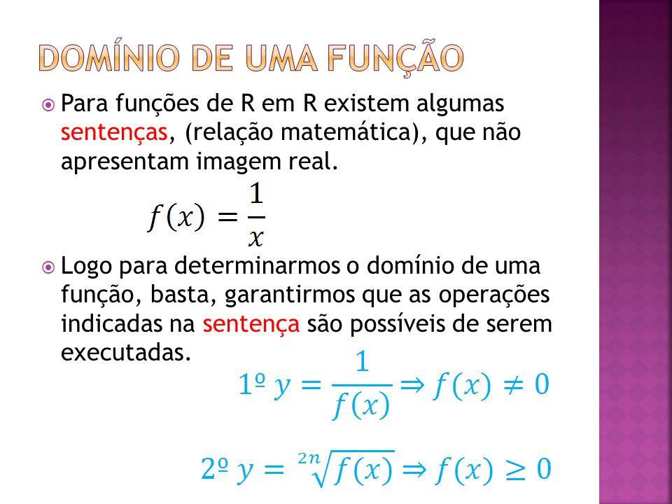 Domínio de uma função Para funções de R em R existem algumas sentenças, (relação matemática), que não apresentam imagem real.