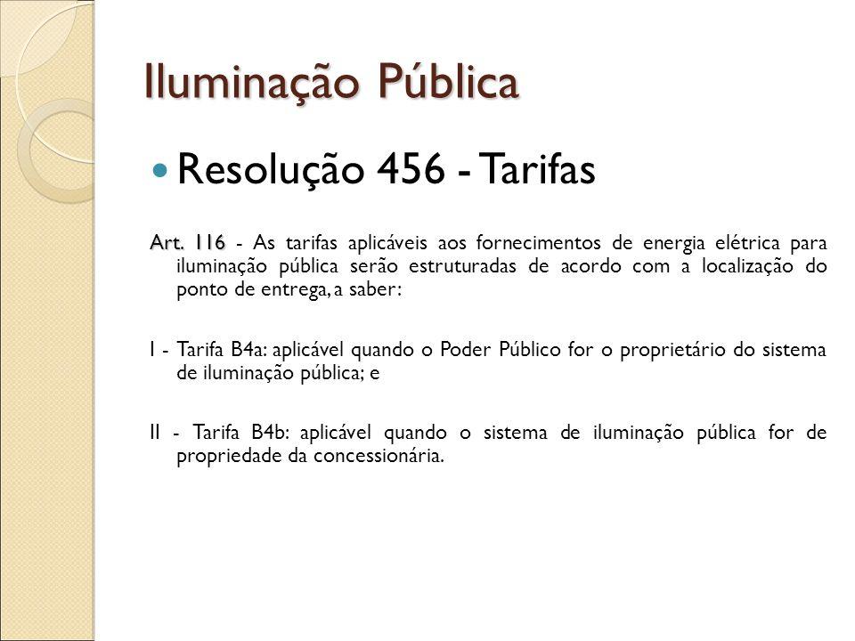 Iluminação Pública Resolução 456 - Tarifas