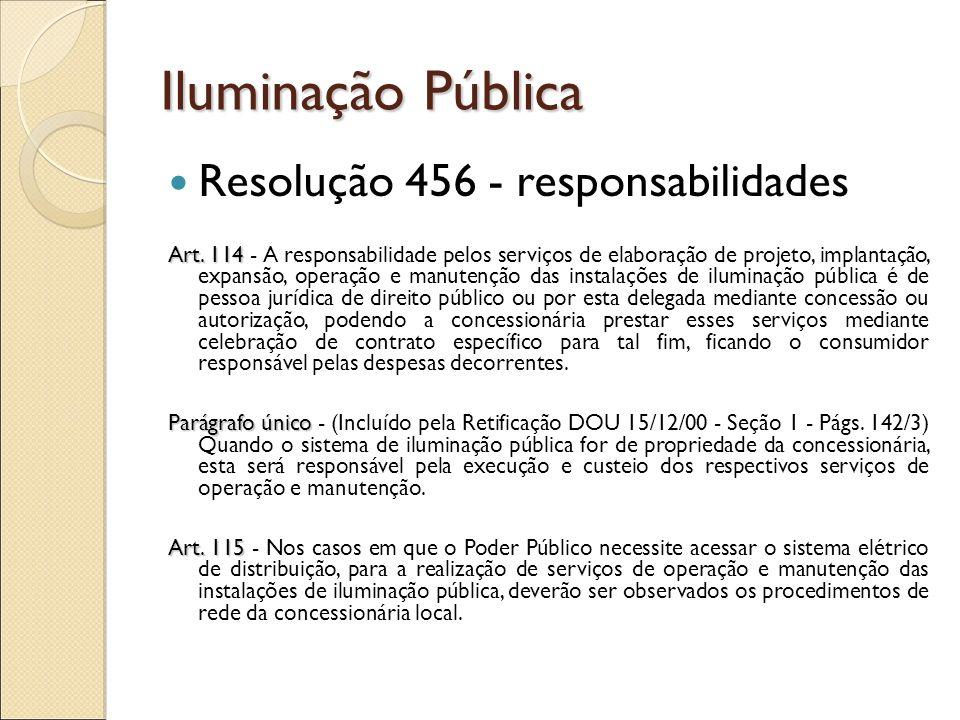 Iluminação Pública Resolução 456 - responsabilidades