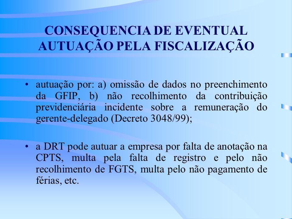 CONSEQUENCIA DE EVENTUAL AUTUAÇÃO PELA FISCALIZAÇÃO