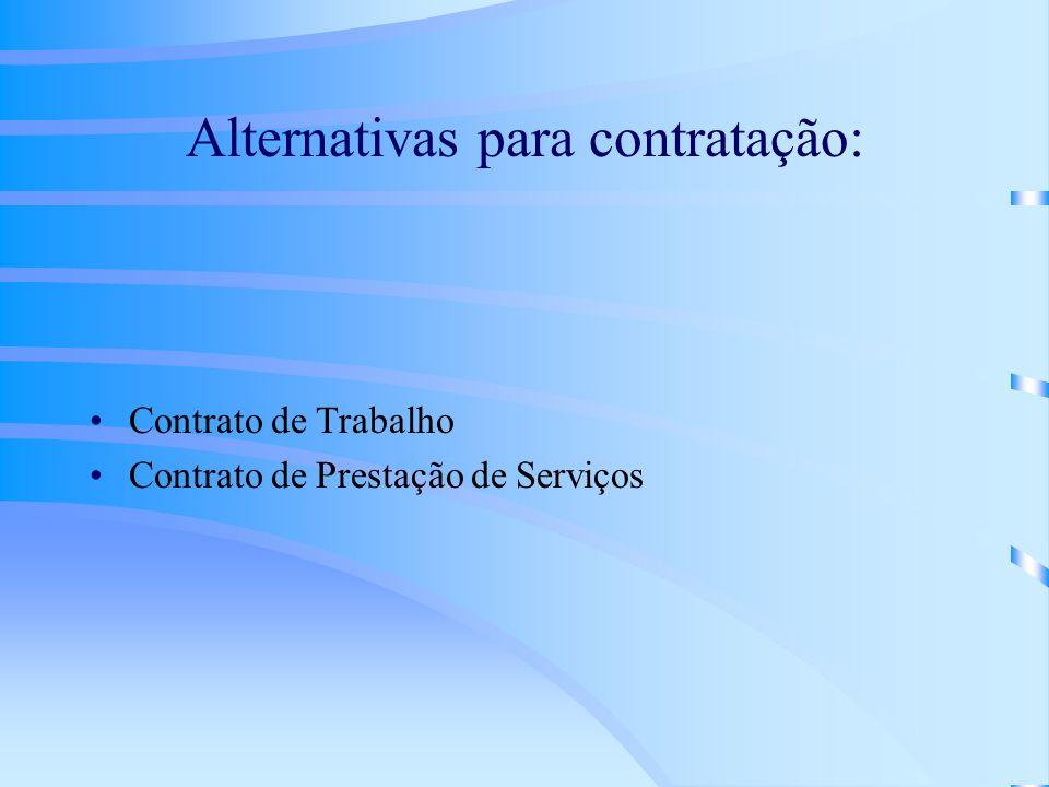 Alternativas para contratação: