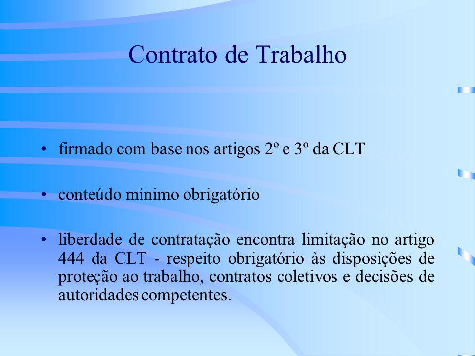 Contrato de Trabalho firmado com base nos artigos 2º e 3º da CLT