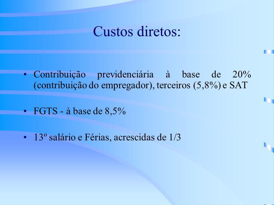 Custos diretos: Contribuição previdenciária à base de 20% (contribuição do empregador), terceiros (5,8%) e SAT.