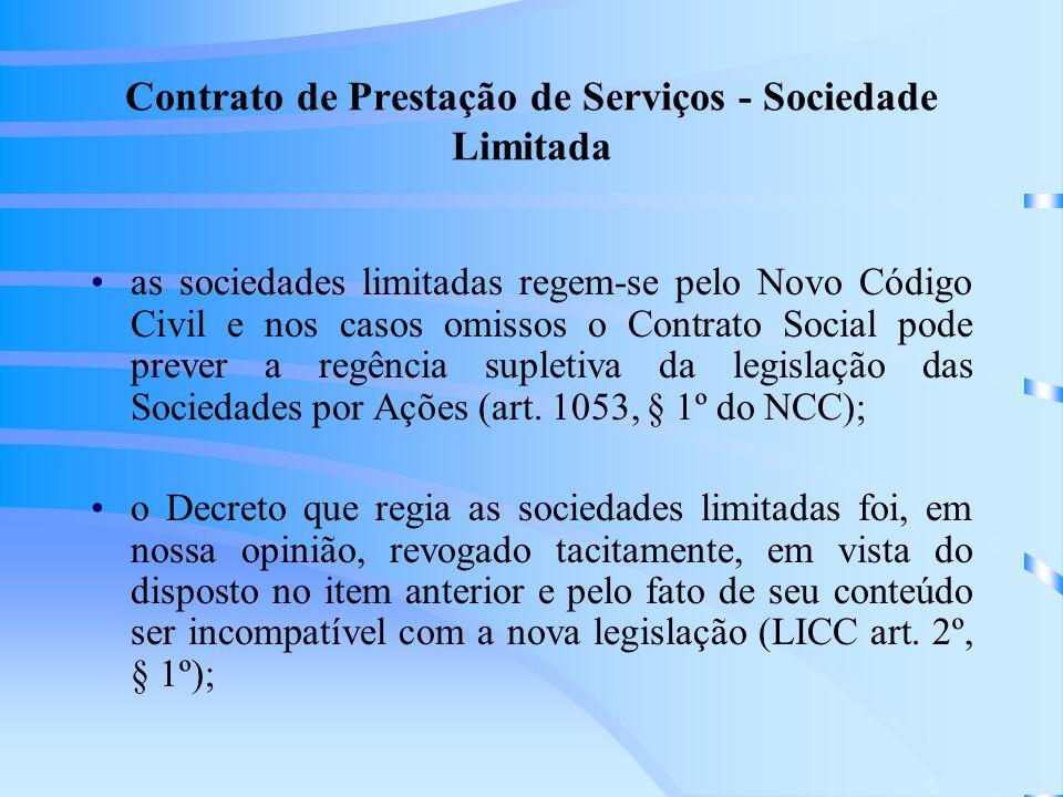 Contrato de Prestação de Serviços - Sociedade Limitada
