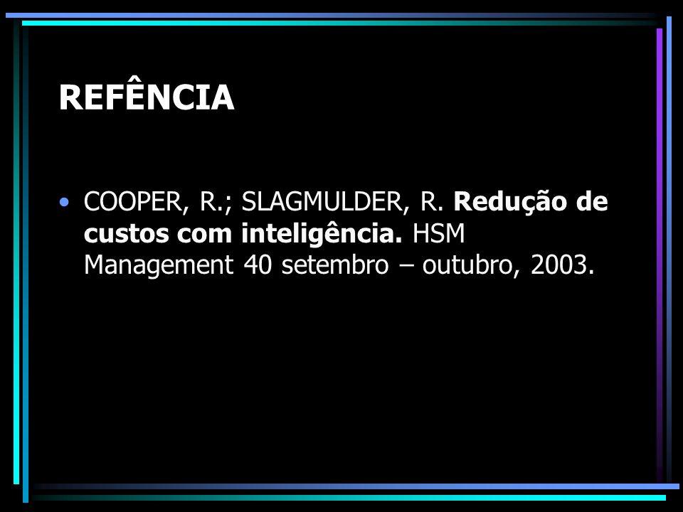REFÊNCIA COOPER, R.; SLAGMULDER, R. Redução de custos com inteligência.