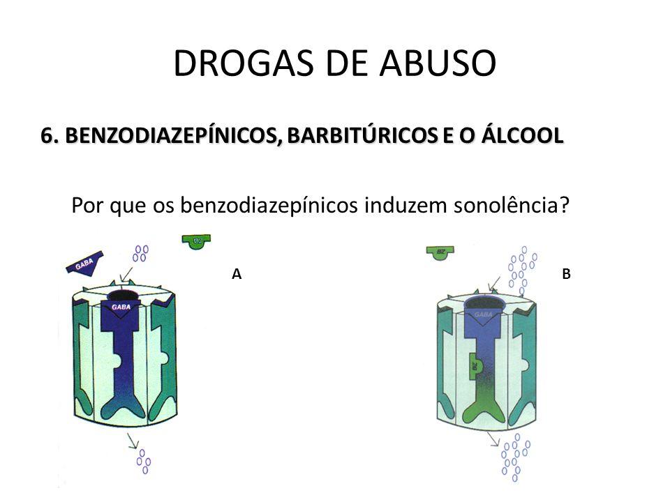 DROGAS DE ABUSO 6. BENZODIAZEPÍNICOS, BARBITÚRICOS E O ÁLCOOL Por que os benzodiazepínicos induzem sonolência