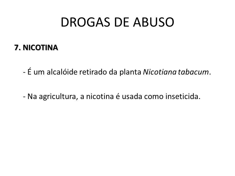 DROGAS DE ABUSO 7. NICOTINA - É um alcalóide retirado da planta Nicotiana tabacum.